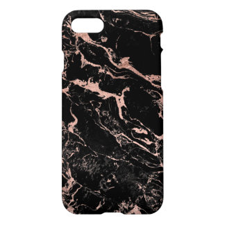 Modern chic faux rose gold foil black marble iPhone 8/7 case