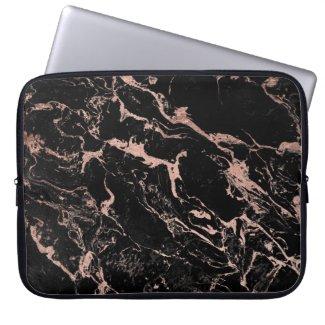 Modern chic faux rose gold foil black marble Laptop Sleeve