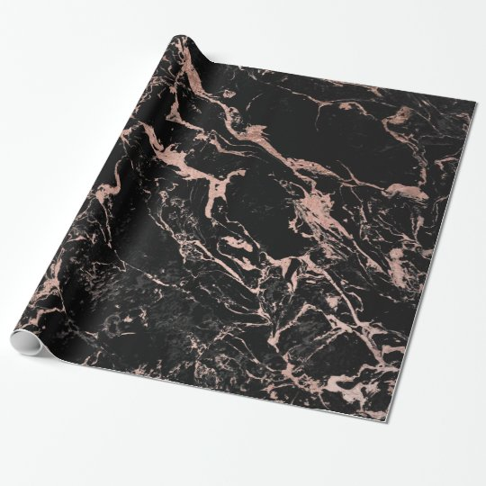 Modern chic faux rose gold foil black marble