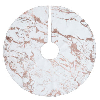 Modern chic faux rose gold white marble brushed polyester tree skirt
