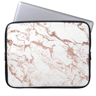 Modern chic faux rose gold white marble computer sleeves