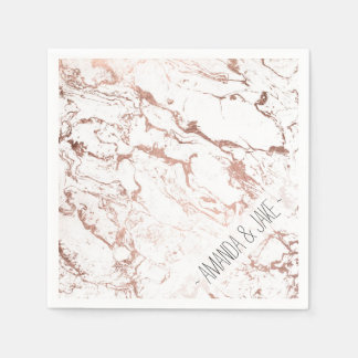 Modern chic faux rose gold white marble disposable serviette