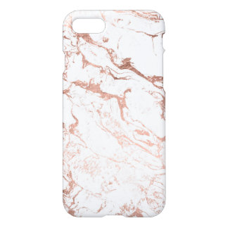 Modern chic faux rose gold white marble iPhone 8/7 case