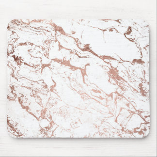 Modern chic faux rose gold white marble mouse mat