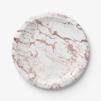 Modern chic faux rose gold white marble paper plate