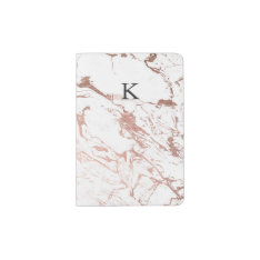 Modern Chic Faux Rose Gold White Marble Passport Holder at Zazzle