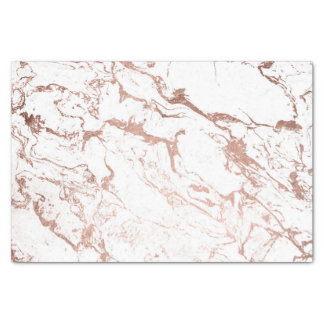Modern chic faux rose gold white marble tissue paper