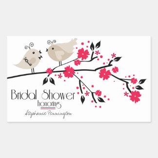 Modern chic floral birds bridal shower stickers