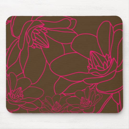 Modern Chic Floral Mousepad - Pink and Brown