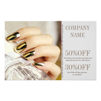 modern chic girly fashion beauty salon nail artist 14 cm x 21.5 cm flyer