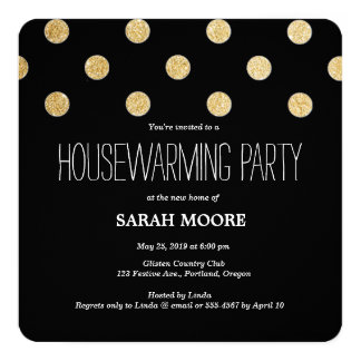 Modern Chic Glitter Gold Black Housewarming Party Card