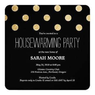 Modern Chic Glitter Gold Black Housewarming Party Card