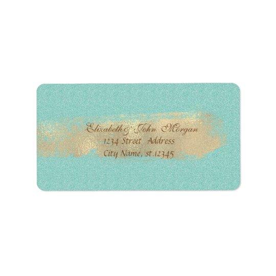 Modern Chic Glittery,Faux Gold Brush Stroke Address Label