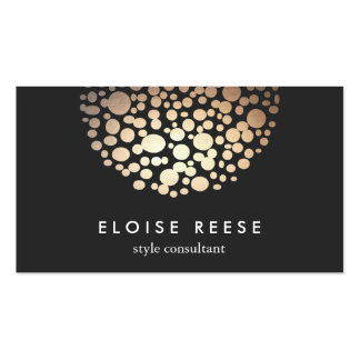 Modern Chic Gold Circles Stylist & Designer Double-Sided Standard Business Cards (Pack Of 100)