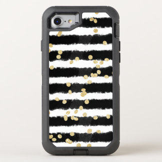 Modern chic gold confetti black watercolor stripes OtterBox defender iPhone 8/7 case