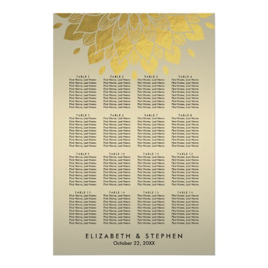 Modern Chic Gold Floral Wedding Seating Chart