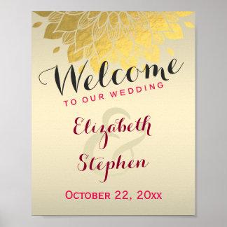 Modern Chic Gold Floral Wedding Shower Sign Poster