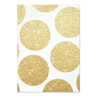 Modern chic gold glitter effect polka dots pattern card