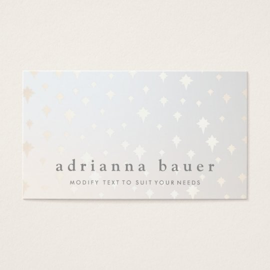Modern Chic Gold Star Pattern Grey Business Card