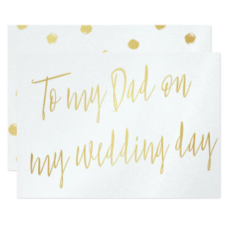 "Modern Chic Gold ""To my dad on my wedding day"" Card"