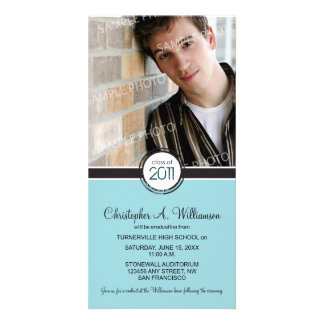 Modern Chic Graduation Announcement (blue) Personalised Photo Card
