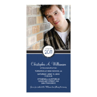 Modern Chic Graduation Announcement (navy) Photo Greeting Card