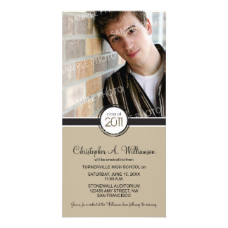 Modern Chic Graduation Announcement (taupe) Customised Photo Card