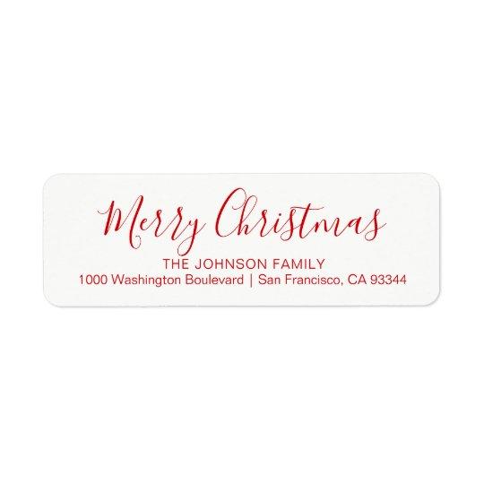 Modern Chic Holiday Christmas Return Address