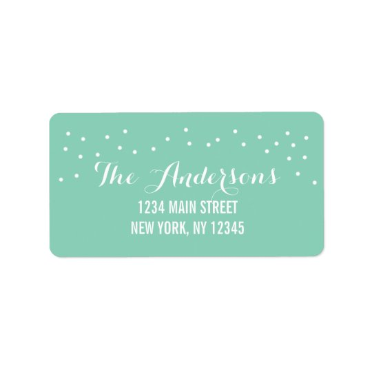 Modern Chic Mint Green and White Dots Address Label