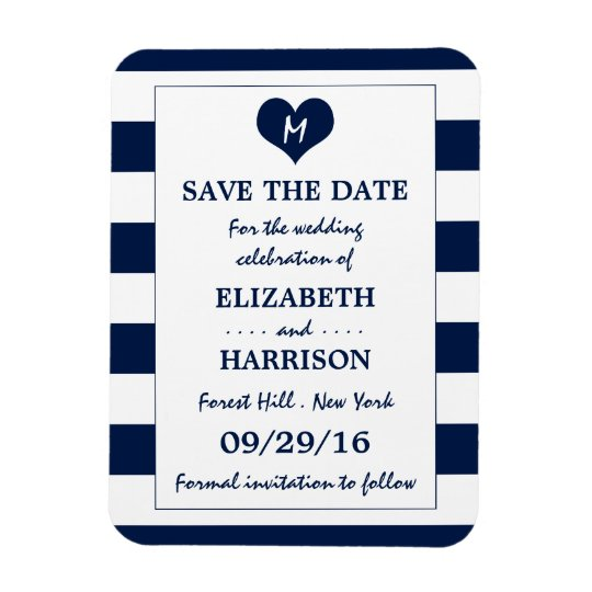 Modern Chic Navy and White Wedding Save The