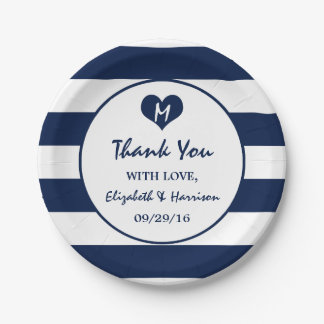 Modern Chic Navy Blue and White Wedding Paper Plate