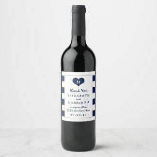 Modern Chic Navy Blue and White Wedding Wine Label