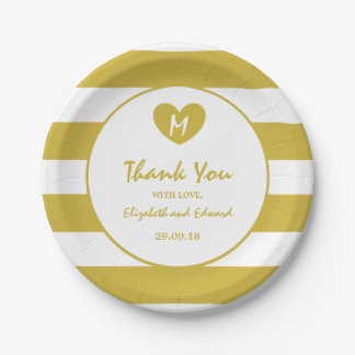 Modern Chic Old Gold Wedding Paper Plate