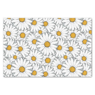 """Modern Chic Ornate Daisy Floral Pattern Watercolor 10"""" X 15"""" Tissue Paper"""