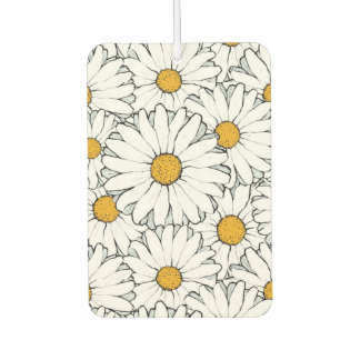 Modern Chic Ornate Daisy Floral Pattern Watercolor Car Air Freshener