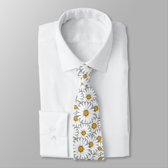 Modern Chic Ornate Daisy Floral Pattern Watercolor Tie