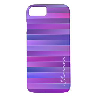 Modern Chic Purple Stripes Custom iPhone 7 case
