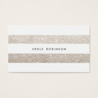 Modern Chic Silver Cream Glitter White Striped