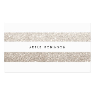 Modern Chic Silver Cream Glitter White Striped Pack Of Standard Business Cards