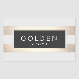 Modern Chic Striped FAUX Gold Foil and Black Rectangular Sticker
