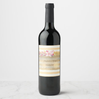 Modern  Chic Striped Flowers Wine Label