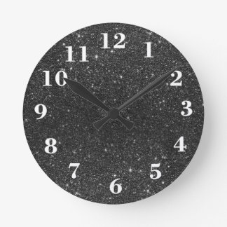 Modern chic stylish trendy faux black glitter round clock