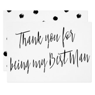"Modern Chic ""Thank you for being my best man"" 13 Cm X 18 Cm Invitation Card"