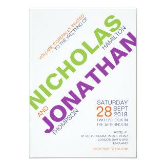 Modern Chic Typography Gay Wedding Invitations