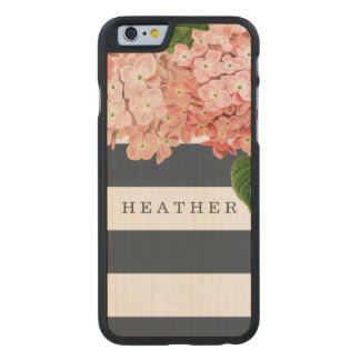 MODERN Chic Wide Stripes Vintage Hydrangea Floral Carved® Maple iPhone 6 Case