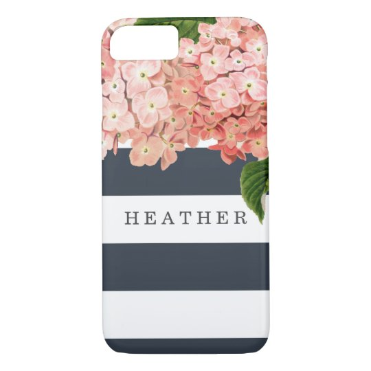 MODERN Chic Wide Stripes Vintage Hydrangea Floral iPhone