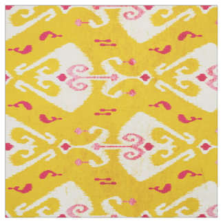 Modern chic yellow pink ikat pattern fabric