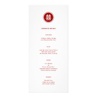Modern Chinese Double Happiness Wedding Menu Card