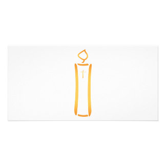 Modern Christian Candle Photo Greeting Card