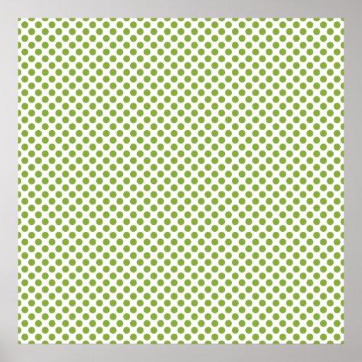Modern Christmas Green Dot Pattern Poster